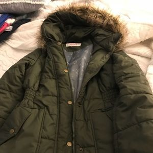 Olive green faux fur hooded winter coat, size s